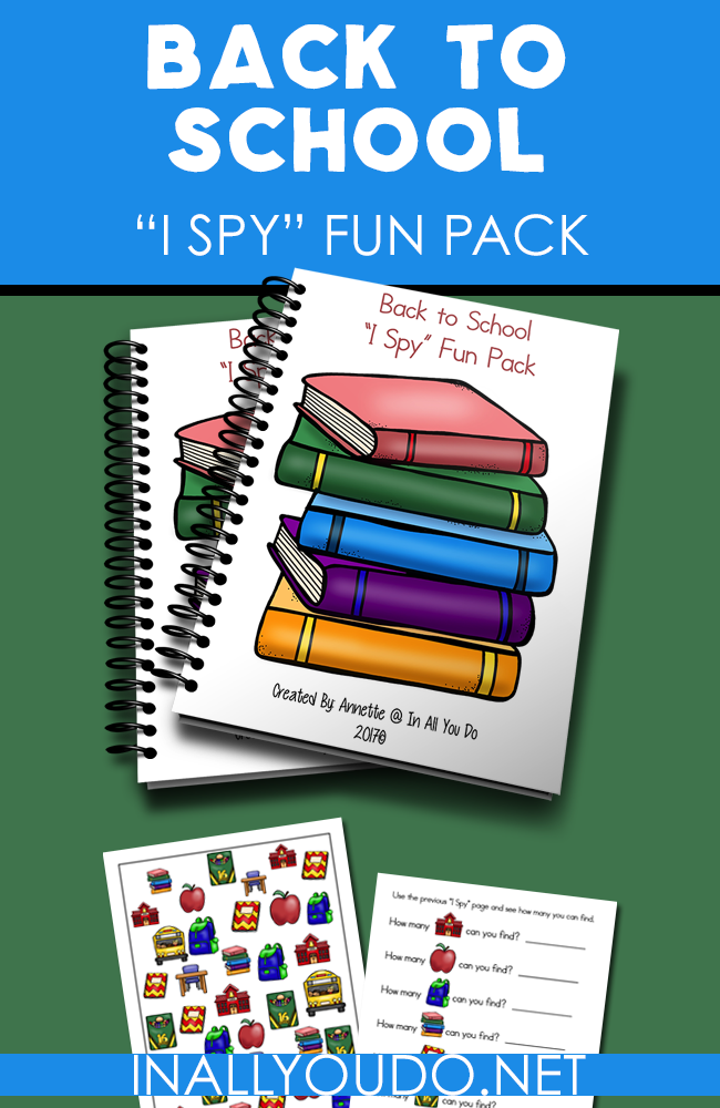 This Back to School I Spy Fun Pack is the perfect addition to any first day celebrations or some fun Back to School themed printables. :: www.inallyoudo.net