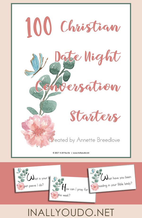 These Christian Date Night Conversation Starter cards are a simple and fun way to reconnect, learn new things and enjoy each others company. :: www.inallyoudo.net