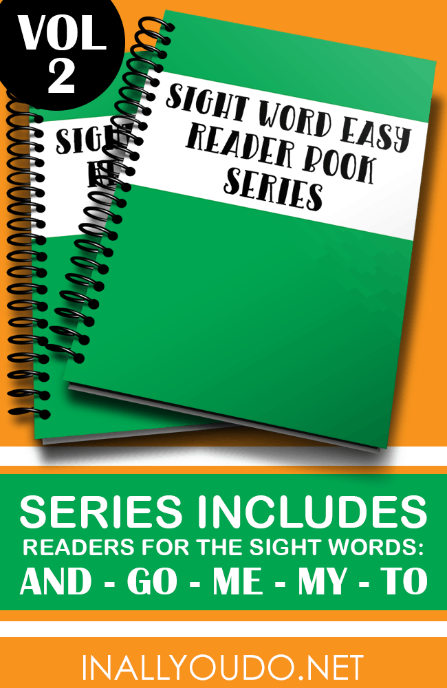 "In these five Easy Sight Word Readers, students will practice reading and building sentences on 5 sight words. Included in this set are ""and"", ""go"", ""me"", ""my"" and ""to"". :: www.inallyoudo.net"