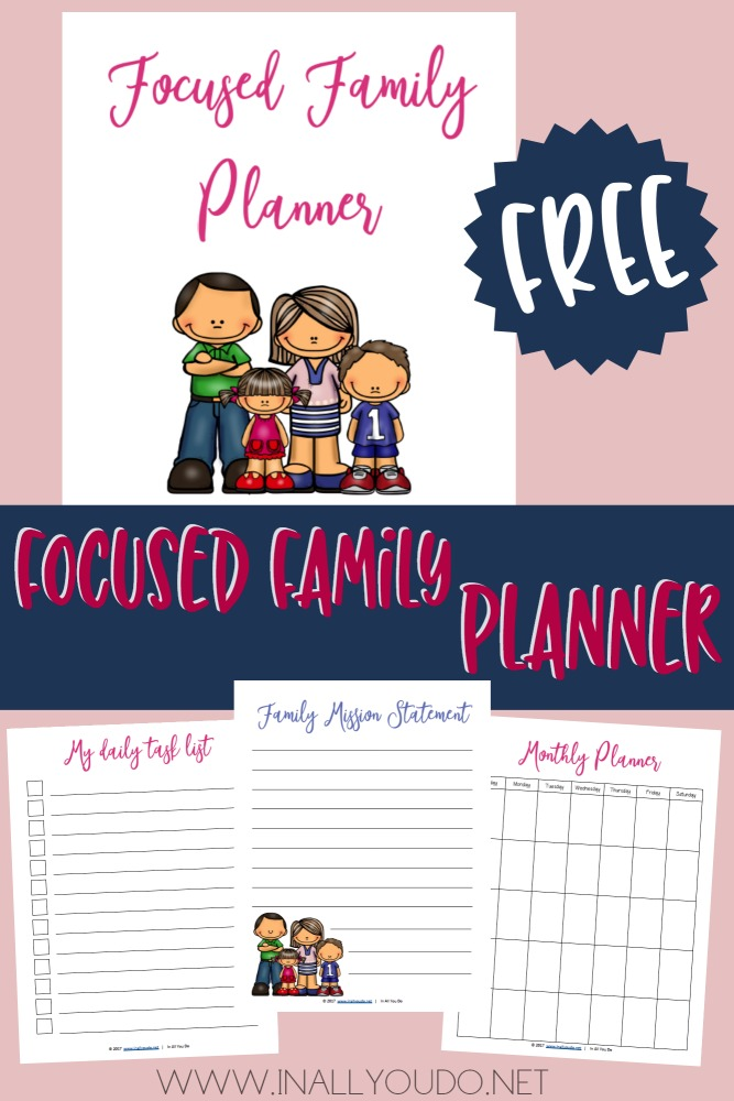 The Focused Family Planner will help you create a Family Mission Statement, a plan and lists to help put your priorities back in order and on the road to making it all work. :: www.inallyoudo.net
