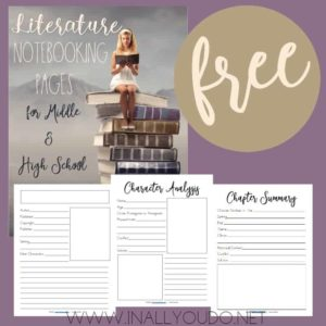 This 29-page notebooking set is the perfect addition to any middle or high schooler's literature studies. These Notebooking Pages are generic so that you can use them with any book, play or other literary work. :: www.inallyoudo.net