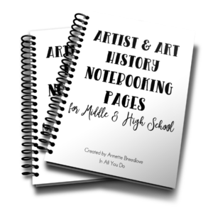 This 24-page notebooking set is the perfect addition to any middle or high schooler's art and art history studies. :: www.thriftyhomeschoolers.com