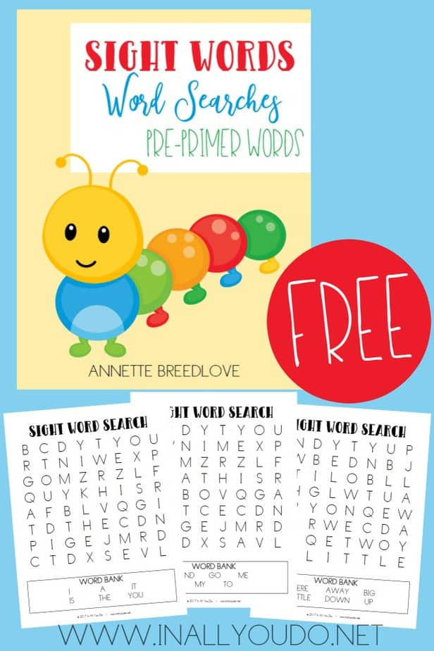 These Sight Word Word Searches are the perfect addition to the Sight Word Easy Readers Pre-Primers set. These word searches are a fun way to review all the sight words on the Pre Primer Dolch Sight Word list. :: www.inallyoudo.net