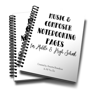 This 24-page notebooking set is the perfect addition to any middle or high schooler's music appreciation, music history or composer studies.These Notebooking Pages are generic so that you can use them with any music or composer lesson, unit study or even after a field trip to a concert, opera, musical and more! :: www.inallyoudo.net