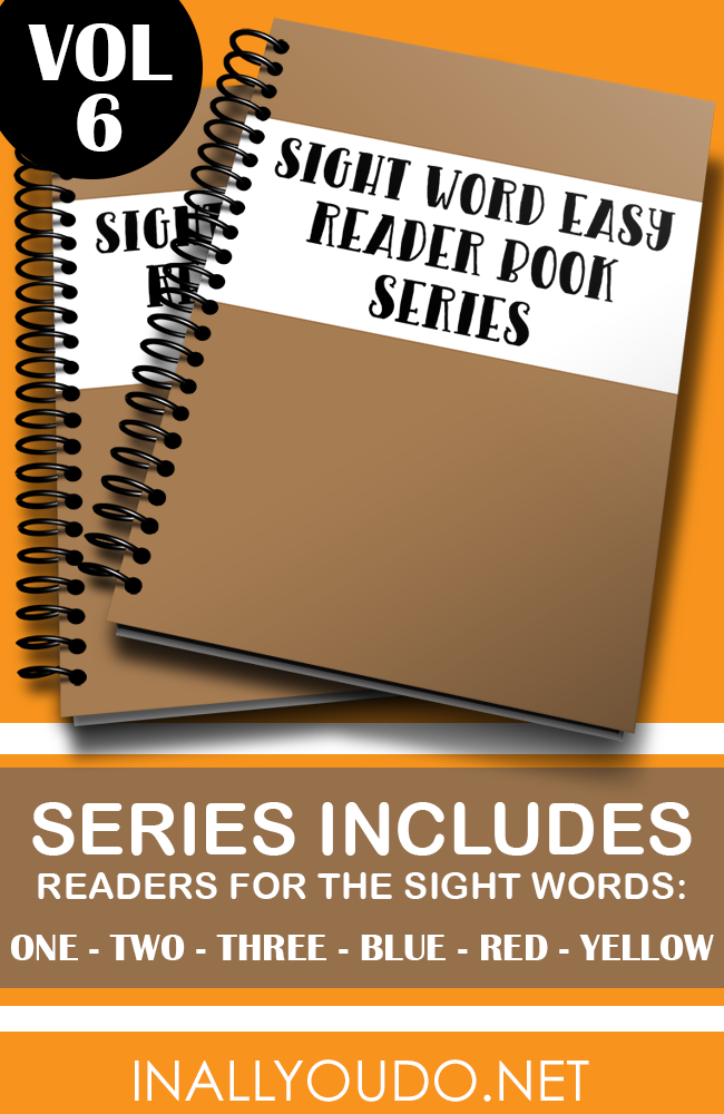 """In these six Easy Sight Word Readers, students will practice reading and building sentences on 6 sight words. The words included in this set are """"one"""", """"two"""", """"three"""", """"blue"""", """"red"""" & """"yellow"""". :: www.inallyoudo.net"""