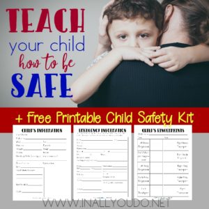We never want to think about something happening to our children, but should it happen - we need to be prepared. The My Child's Safety Kit contains 3 printable pages that will help authorities in their search. :: www.inallyoudo.net