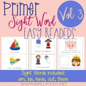 Primer Sight Word Readers – Vol 3