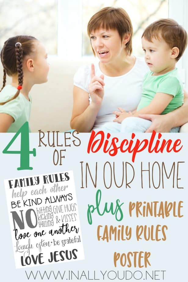 Does your family struggle with discipline? We have, but putting rules in place and setting expectations with our kids has helped immensely. Read more about what has helped us and grab your own free printable family rules posters! :: www.inallyoudo.net