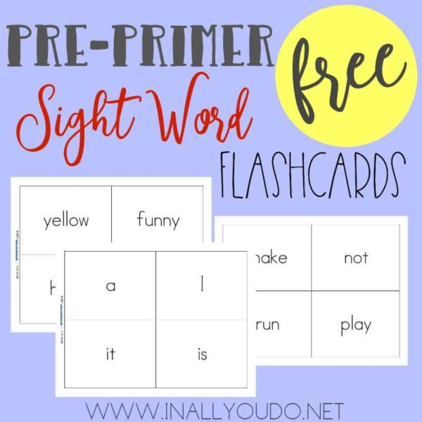 These printable Sight Word Flashcards are the perfect way to help kids memorize and/or review the Pre-Primer Sight Word List. :: www.inallyoudo.net