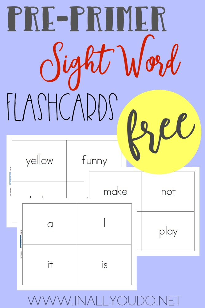 picture regarding Printable Sight Word Flash Cards identified as Pre-Primer Sight Term Flashcards - Within just All Your self Do