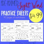 Pre-Primer Sight Words Worksheets