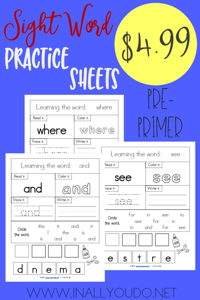 Help little ones work on their pre-primer sight words with these practice sheets. :: www.inallyoudo.net