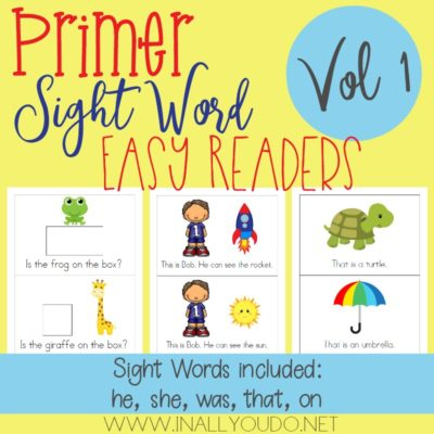 "In this Primer Easy Sight Word Reader set, students will practice reading and building sentences on 5 sight words from the Primer Dolch Sight Word list. The words included in this set are ""he"", ""she"", ""was"", ""that"" & ""on"". :: www.inallyoudo.net"