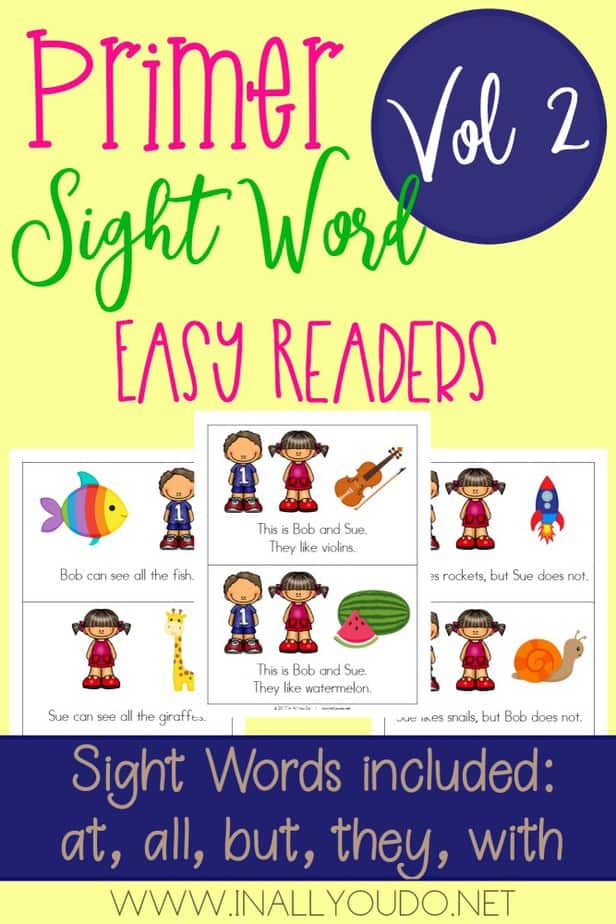 """In this Primer Easy Sight Word Reader set, students will practice reading and building sentences on 5 sight words from the Primer Dolch Sight Word list. The words included in this set are """"all"""", """"at"""", """"but"""", """"they"""" & """"with"""". :: www.inallyoudo.net"""
