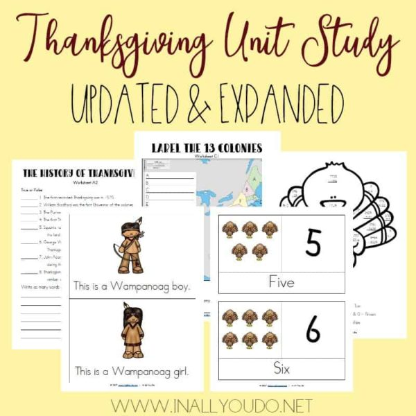 This Thanksgiving Unit Study was one of the first ones I created over 5 years ago. I have updated and expanded it from 12 pages to 34 pages! It includes Language Arts, Science, Math, Social Studies/Geography, Visual Arts and much more!:: www.inallyoudo.net