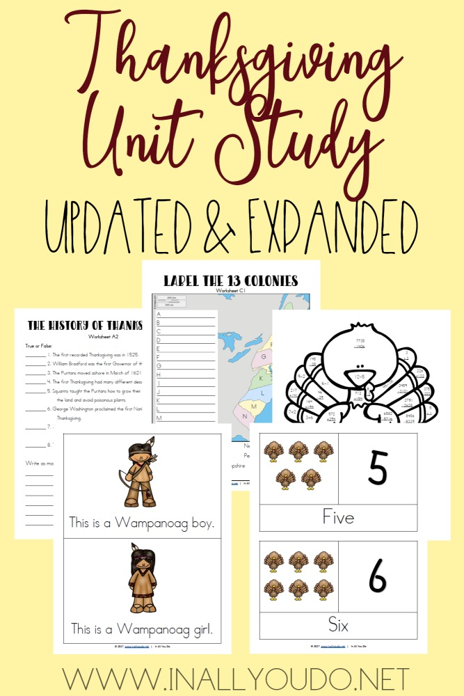 This Thanksgiving Unit Study was one of the first ones I created over 5 years ago. I have updated and expanded it from 12 pages to 34 pages! It includes Language Arts, Science, Math, Social Studies/Geography, Visual Arts and much more! :: www.inallyoudo.net