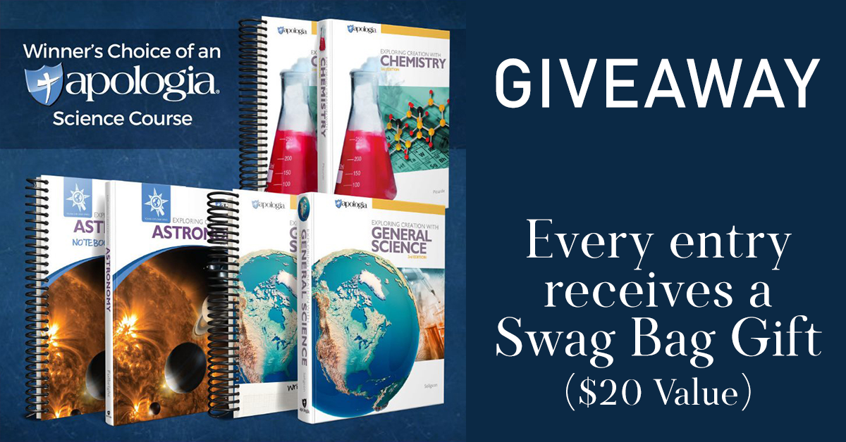 If you love Apologia, don't miss this month's giveaway! Every entrant gets a FREE Swag Bag worth $20!! ENTER TODAY - Giveaway ends 11.17.19 #giveaway #win #science #Apologia