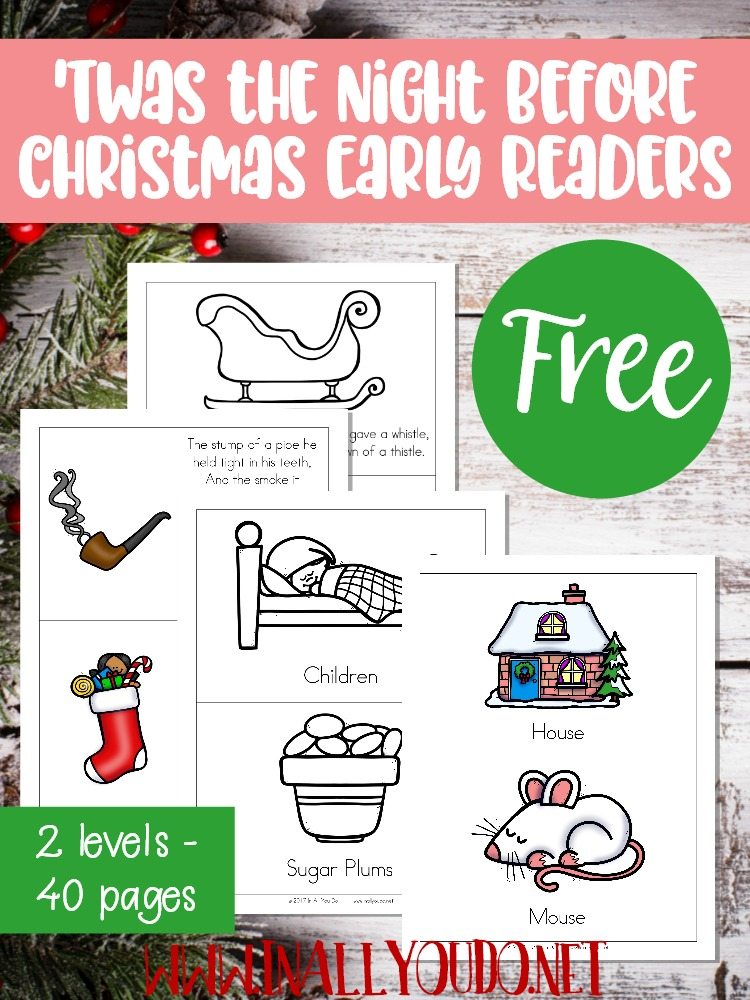 One of the most famous and beloved Christmas poems is now in easy reader format for your little ones to enjoy on their own! Colorful images paired with sight words will help introduce little ones to this magical poem of Christmas. Also includes a long sentence version for older kids. :: www.inallyoudo.net