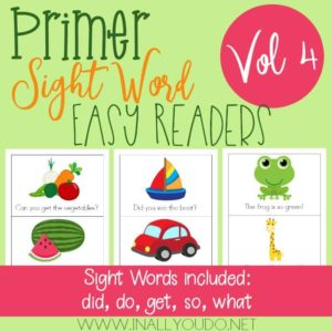 Primer Sight Word Readers – Vol 4