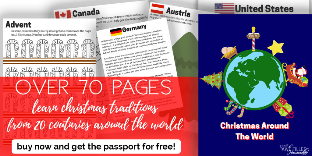"""Looking for a fun and unique Advent Study to do with your family this year? Check out """"Christmas Around the World""""! Get it now and receive the passport printables FREE! :: www.inallyoudo.net"""