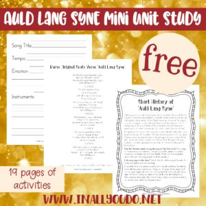This Mini Music Study focuses on one of the most famous musical pieces sung at the stroke of midnight on New Year's Eve, Auld Lang Syne. The unit has a short history of the song, listening exercises, notebooking pages, a Venn diagram and 3 different translations. :: www.inallyoudo.net
