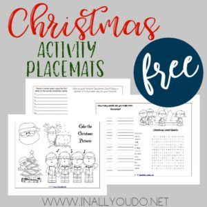 These Christmas Activity Placemats are the perfect addition to any unit study or lunch during the month of December. The placemats include 3 pages of coloring, puzzles & trivia questions! :: www.inallyoudo.net