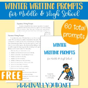 These Winter Themed Writing Prompts are perfect for Middle and High Schoolers to work on both their creative writing skills and the four different types of writing styles. Includes 60 prompts in the four different styles and an idea page of how to use them. #winter #highschool #middleschool #writingprompts #iaydhomeschoolers