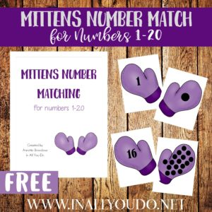 Have toddlers work on their counting skills with these winter themed Mitten Number Match printables numbers 1-20! :: www.inallyoudo.net
