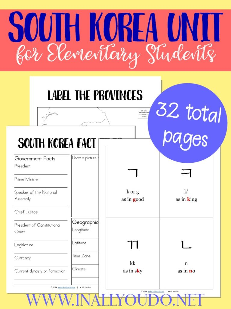 It's never too early to start learning World Geography. This South Korea Unit covers the alphabet, geography, fact files and notebooking pages. :: www.inallyoudo.net