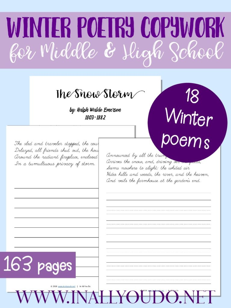This Winter Themed Poetry Copywork pack is perfect for Middle and High Schoolers. This pack includes 18 different poems with both manscript lines and plain lines for copywork, for a total of 163 pages. :: www.inallyoudo.net