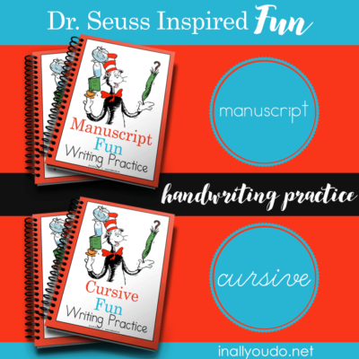 Dr Seuss Inspired Fun Handwriting Practice ~ Manuscript & Cursive