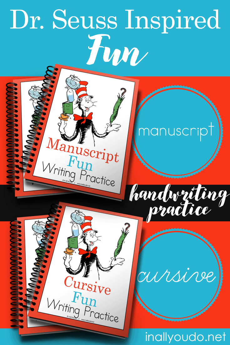 Your little Dr. Seuss fans will love practicing their handwriting skills with these themed practice pages. Included are 26 pages in both manuscript and cursive. You can print these out and use once or laminate them to use over and over! :: www.inallyoudo.net