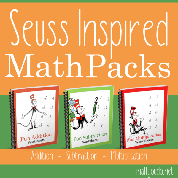 Your little Dr. Seuss fans will love practicing math skills with these themed math packs. This bundle includes Addition, Subtraction and Multiplication! You can print these out and use once or laminate them to use over and over! :: www.inallyoudo.net