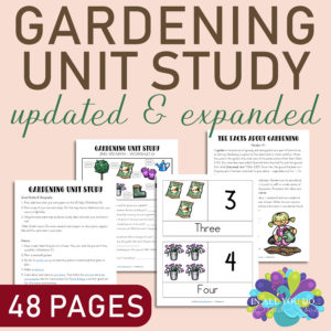 With 48 pages of Gardening activities, students will work through language arts, geography, science, math and much more! #homeschoolers #homeschooling #gardening #spring