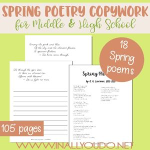 This Spring Themed Poetry Copywork pack is perfect for Middle and High Schoolers. This pack includes 18 different poems with plain lines for copywork, for a total of 107 pages. :: www.inallyoudo.net