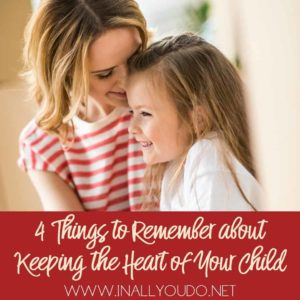 In the midst of the busyness of parenting, it is easier for us to focus more on rules, regulations, and discipline, than it is to slow down and work towards the goal of reaching our child's heart.In order to reach the hearts of our children, it is necessary that we remember these 4 things. :: www.inallyoudo.net