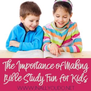 We can't expect our children to incorporate what they're taught at church if we aren't continuing to teach or uphold what they're learning at home.By combining the reading of God's Word with activities designed for kids we have the opportunity to make the Bible come to life for them rather than just reading verse after verse without any interaction. :: www.inallyoudo.net