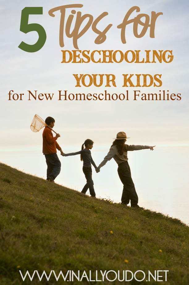 "If you're transitioning from public or private school to homeschooling, I always recommend ""deschooling"" for a time. This may seem counterproductive, but most likely your child(ren) need to heal and decompress as it were from what was ingrained in them. Homeschool is different for everyone, but it is not simply ""school at home"". With these tips, you can easily transition to homeschool without many of the struggles new homeschoolers face. :: www.inallyoudo.net"