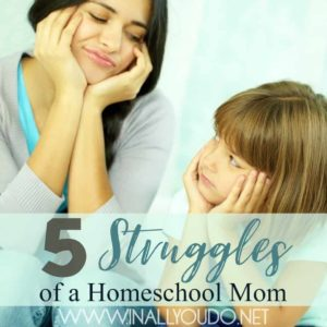 Being a mom is hard. Add in homeschooling and there is a whole other set of challenges we face. But you're not alone. These are my top 5 struggles of being a homeschool mom. :: www.inallyoudo.net