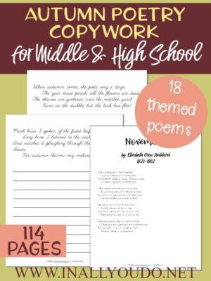 Seasonal Poetry Copywork for Middle & High School
