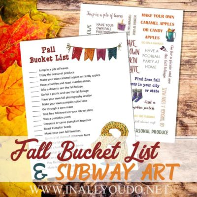 Are youstrapped for cash this year? If you have no money to spend, or very little, here is how you can maximize your fun this fall with a Fall Bucket List for Broke People. Includes a FREE printable checklist and subway art to display too! :: www.inallyoudo.net