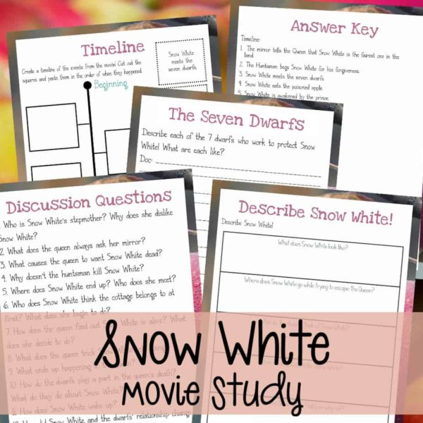 "If your kids love the classic movie ""Snow White"" as much as mine, they are sure to enjoy this fun movie study! Have a fun movie day and sneak in a little learning with these activities! #moviestudy #movies #snowwhite #7dwarfs #homeschooling #"