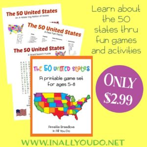 The 50 United States – A Printable Game Set for Ages 5-8