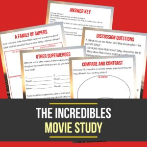 "Give your kids a reason to watch the original ""Incredibles"" movie with this 'super' fun Movie Study and sneak in a little learning too! Includes 4 activity pages that will bust through their boredom! #movies #moviestudy #homeschooling #homeschoolers #incredibles"