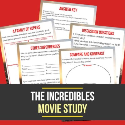 """Give your kids a reason to watch the original """"Incredibles"""" movie with this 'super' fun Movie Study and sneak in a little learning too! Includes 4 activity pages that will bust through their boredom! #movies #moviestudy #homeschooling #homeschoolers #incredibles"""