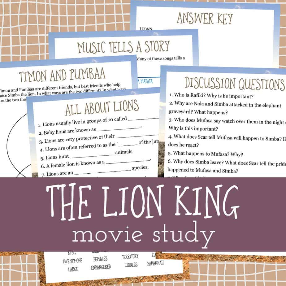 "If your kids love ""The Lion King"" movie as much as mine, they are sure to love this fun movie study too! Have a fun movie day and sneak in a little learning too! #moviestudy #movies #thelionking #homeschooling #homeschoolers"