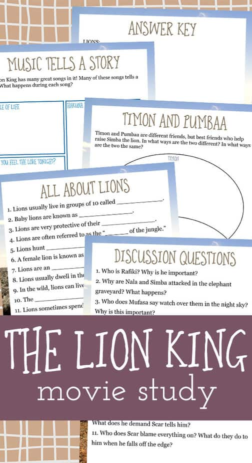 """If your kids love """"The Lion King"""" movie as much as mine, they are sure to love this fun movie study too! Have a fun movie day and sneak in a little learning too! #moviestudy #movies #thelionking #homeschooling #homeschoolers"""