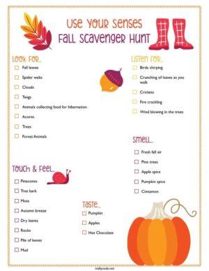 Fall Senses Scavenger Hunt
