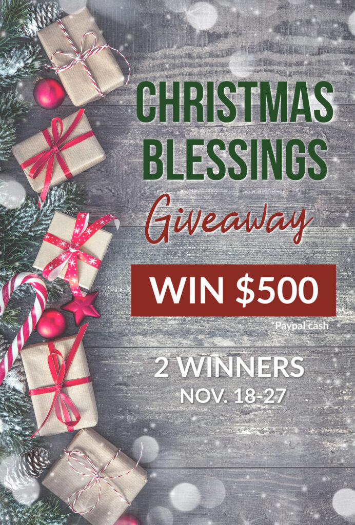 Could you use $500 this Christmas? I have joined forces with some amazing bloggers to bless two lucky winners this Christmas season! But you have to enter! Giveaway ends 11.27.19 at 11:59pm EST. #giveaway #win #Christmasblessings #iaydcommunity