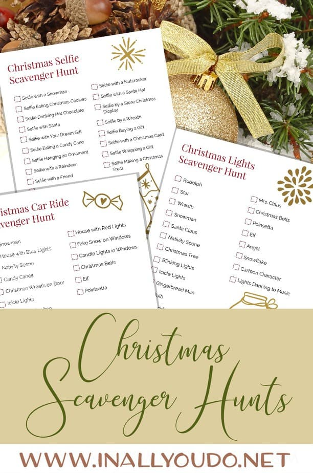Whether you take a small group or just your family, these Christmas Scavenger Hunts are sure to create memories that will last a lifetime! Choose from 3 different options! #Christmas #Christmaslights #scavengerhunt #moms #family